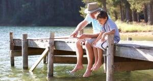 Grandparent grandchild fishing